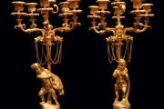 TWO CANDELABRA, FRENCH ANTIQUE GOLD PLATED BRONZE, MUSEUM QUALITY !!