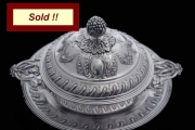 ANTIQUE FRENCH 3-PIECE STERLING SILVER VEGETABLE SERVER, MUSEUM QUALITY - 1875 !!