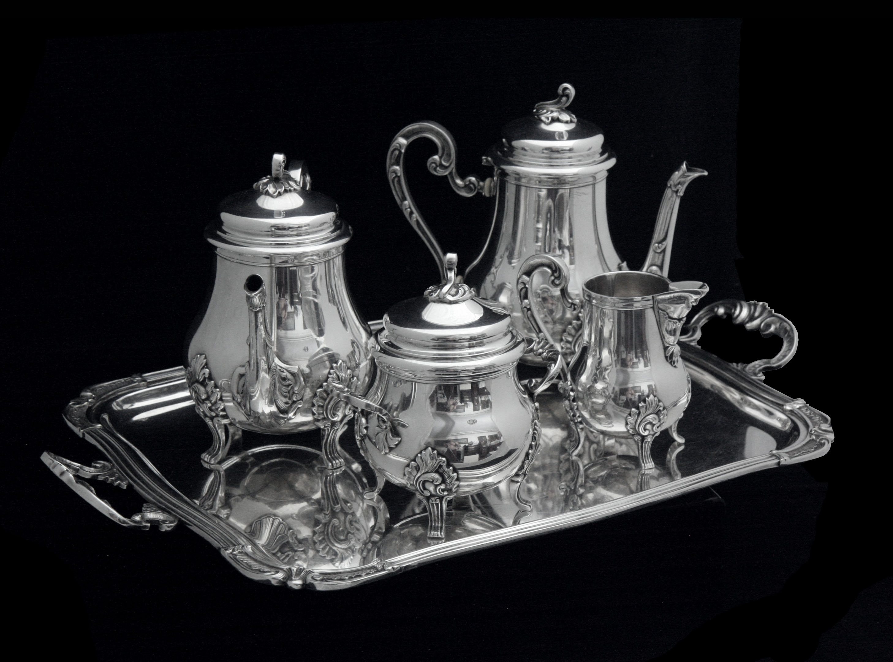 FRENCH ANTIQUE 19th CENTURY 5 pc. SILVER PLATED TEA SET WITH SERVING TRAY !! & Estate Sale Sterling Silver - Categories