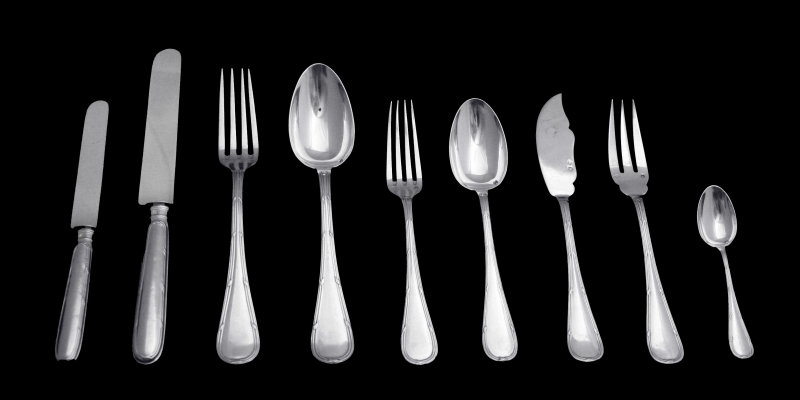 Gorgeous19th c french sterling silver dinner cutlery set 12p Puiforcat Louis XVI